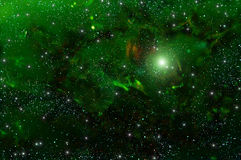 Universe deep space star nebula. Colorful abstract background of deep space with green nebula and stars Stock Image