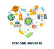 Universe exploration and galaxy space research flat vector heart poster Royalty Free Stock Photos
