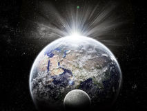 Universe exploration - Moon eclipse on earth Royalty Free Stock Photo