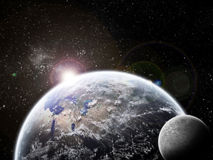 Universe exploration - Moon eclipse on earth Royalty Free Stock Images