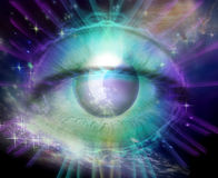 Universe and Eye of Consciousness or God Stock Photography