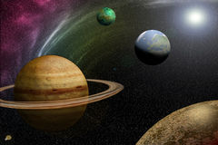 UNIVERSE. A few planets from the solar system lighted up by the sun vector illustration