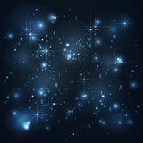 Universe, galaxy with stars in blue background, abstract. Vector Stock Photo