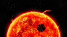 Universe of the giant sun. A fictional universe and a gigantic sun scorching the small planet in front of her royalty free illustration