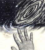 Universe, hand, reaching for the stars. A black and white illustration of a hand with the palm side revealed, its fingerprints and palm prints in detail Vector Illustration