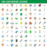 100 universe icons set, cartoon style Stock Photos