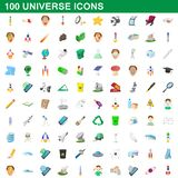 100 universe icons set, cartoon style. 100 universe icons set in cartoon style for any design illustration royalty free illustration