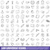 100 universe icons set, outline style. 100 universe icons set in outline style for any design vector illustration Royalty Free Stock Photos