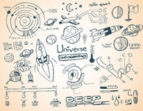 Universe infographics element collection. With hand drawn doodles sketch! Satelllites, Ships and other elements isolated and realdy for you dsign projects vector illustration