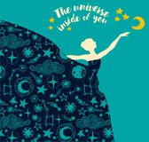 `The universe inside of you` poster. Ballerina in starry dress, `The universe inside of you` poster, can be used as banner for ballet studio, vector illustration royalty free illustration
