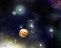 Universe - jupiter and a starfield. Beautiful star field and nebula`s with glowing stars and a jupiter - fictional space/sf scene Royalty Free Stock Photo