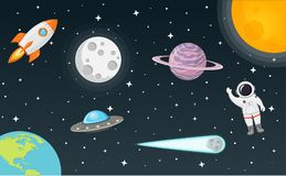 Space with moon, sun, rocket, astronaut, planet, ufo and comet flat design royalty free illustration