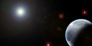 Universe planet. Universal planet with shadows and light, some stars out in the open universe Stock Image