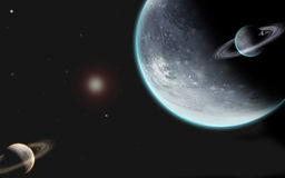 Universe with planets. Big universe with four planets and one sun all 3D generated Stock Photo