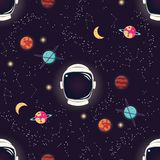 Universe with planets, stars and astronaut helmet seamless pattern, cosmos starry night sky royalty free illustration