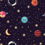 Universe with planets, stars and astronaut helmet seamless pattern, cosmos starry night sky vector illustration
