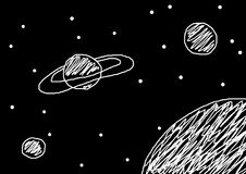 Universe with planets and stars. Kid's painting of universe with planets and stars Stock Photography