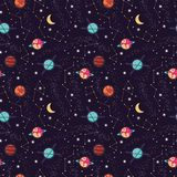 Universe with planets and stars seamless pattern, cosmos starry night sky. Vector illustration Royalty Free Stock Images
