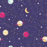 Universe with planets and stars seamless pattern, cosmos starry night sky stock illustration