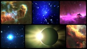 Universe poem. Graphic animation of the planets and constellations stock video