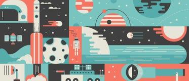 Universe rocket design background concept Stock Photos