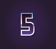 Universe 80s Retro Sci-Fi Font Digit Number. Vector Royalty Free Stock Photo