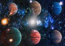 Universe scene with planets, stars and galaxies in outer space showing the beauty of space exploration. Elements furnished by NASA Royalty Free Stock Photos