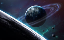 Universe scene with planets, stars and galaxies in outer space showing the beauty of space exploration. Elements Stock Image
