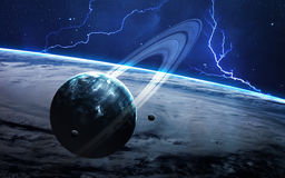 Universe scene with planets, stars and galaxies in outer space showing the beauty of space exploration. Elements Stock Photo