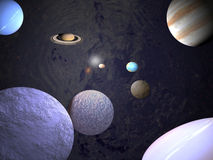 Universe - science backgrounds. Planets in orbit, illustration of mine stock illustration