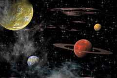 Universe with several planets Stock Photography