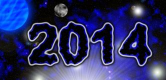 2014 universe. Simple ilustration of 2014 card Stock Photo