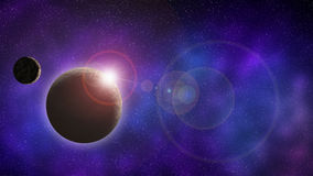 Universe and space planet with moon at sunrise. Royalty Free Stock Image