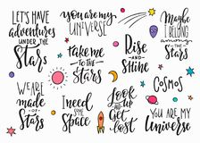 Universe Space Quote typography lettering set. My universe love star moon space romantic space travel cosmos astronomy quote lettering set. Calligraphy Stock Images