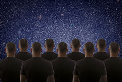 Universe. Starry sky and silhouette of man Stock Photos