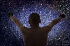 Universe. Starry sky and silhouette of man Stock Photography