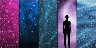 Universe, stars, constellations, planets and an alien shape. Stock Images