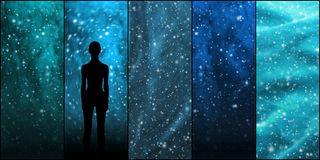 Universe, stars, constellations, planets and an alien shape. Space backgrounds collection. Stock Photos