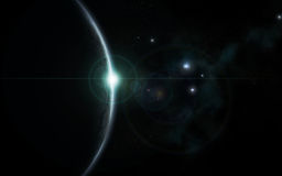 Universe sunrise cold blue colored. A fictional universe and a beautiful sunrise blue colored stock illustration