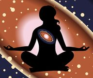 Universe and yoga Royalty Free Stock Photo