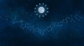 Universe with Zodiac Constellations. Universe with milky way galaxy showing all 12 zodiac constellations Stock Photos