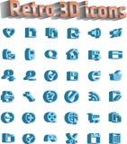 Universeel geplaatst pictogram - retro 3d pictogrammen Stock Afbeeldingen