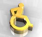 Universeel rolstoelsymbool in (3d) goud Stock Fotografie