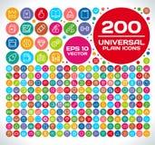 200 universele Duidelijke Pictogramreeks 2 Stock Foto's