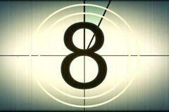 Universele filmleider, symbool het tellen neer van 8, met chroma stock afbeelding