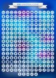 200 universele geplaatste pictogrammen Stock Fotografie