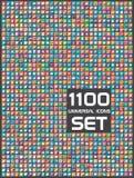 1100 universele geplaatste pictogrammen Stock Fotografie