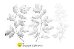 Universele geplaatste tendens gespikkelde bladeren Gestippelde heldere gewaagde mede elementen Royalty-vrije Stock Afbeeldingen