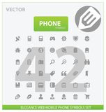 Universele het overzichtspictogrammen van het Web en van de telefoon Royalty-vrije Stock Afbeelding