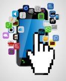 Universele ontwerp mobiele telefoon met muishand Stock Afbeelding